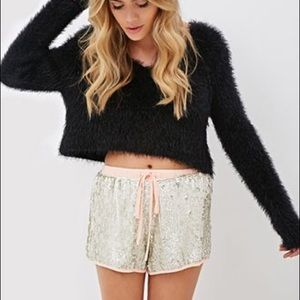 NWT Forever 21 Silver Sequin Shorts Size L